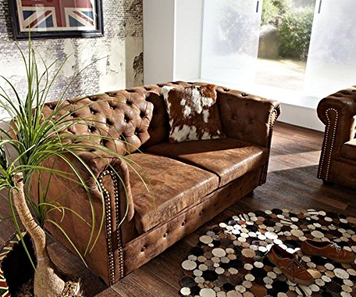 2 sitzer couch chesterfield braun 160x88 cm wildlederoptik. Black Bedroom Furniture Sets. Home Design Ideas
