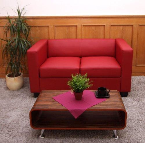 2er sofa couch loungesofa lille leder rot. Black Bedroom Furniture Sets. Home Design Ideas