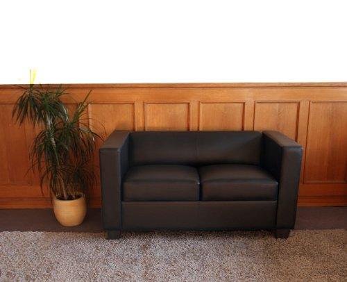 2er Sofa Couch Loungesofa Lille Leder Schwarz Ledersofa Biz