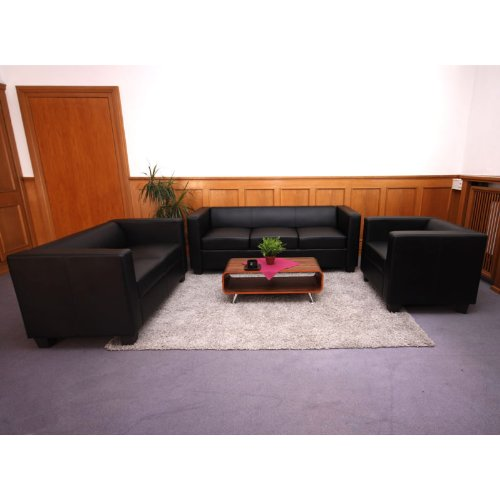 3 2 1 sofagarnitur couchgarnitur loungesofa lille leder schwarz. Black Bedroom Furniture Sets. Home Design Ideas