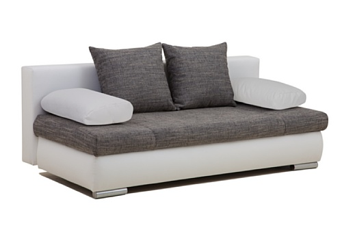 b famous schlafsofa chicago pur kunstleder 200 x 95 cm wei mit strukturstoff grau. Black Bedroom Furniture Sets. Home Design Ideas