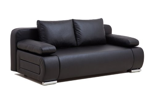 b famous schlafsofa ulm fk kunstleder pu 200 x 91 cm schwarz. Black Bedroom Furniture Sets. Home Design Ideas