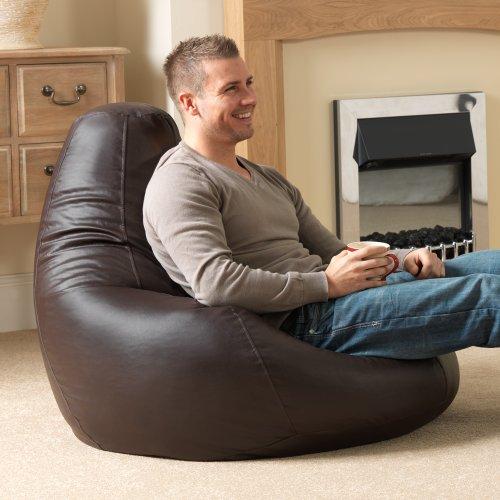 bean bag bazaar gaming sitz sack designer liegesessel braun lederimitat extra large sitzsack. Black Bedroom Furniture Sets. Home Design Ideas