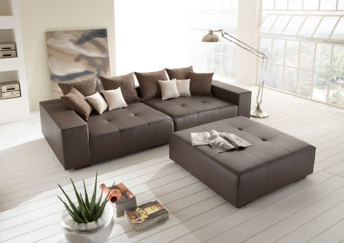 big leder sofa mit hocker made in germany italienisches. Black Bedroom Furniture Sets. Home Design Ideas