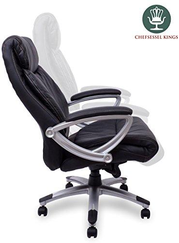 chefsessel kings schwarz silber echtes leder das original b rostuhl schreibtischstuhl. Black Bedroom Furniture Sets. Home Design Ideas