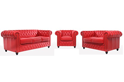 Chesterfield Showroom - Original Chesterfield Sofa / Couch - 1+2+3-Sitzer -  Echtes Leder handgewischt - Rot