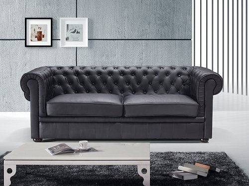 chesterfield sofa schwarz ledersofa ledercouch. Black Bedroom Furniture Sets. Home Design Ideas
