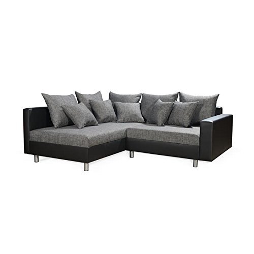 ecksofa couchgarnitur eckcouch sofa juri schwarz grau ottomane links 11 kissen kunstleder. Black Bedroom Furniture Sets. Home Design Ideas