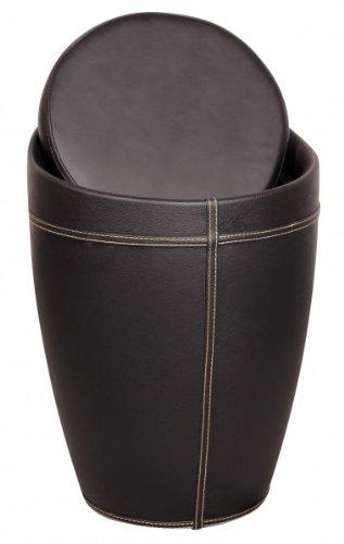 finebuy hocker mit funktion badhocker leder optik schwarz. Black Bedroom Furniture Sets. Home Design Ideas