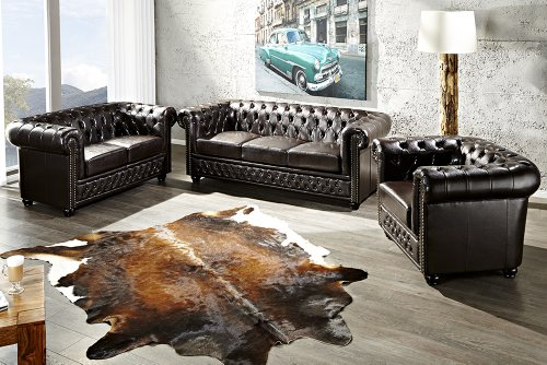 Invicta Interior 9685 Chesterfield Sofa 2-er mit Nietenbesatz, dark ...