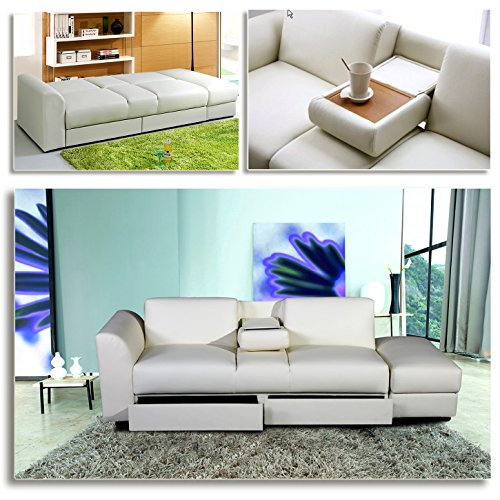 king funktionssofa weiss schlafsofa sofa kunstleder bettsofa lounge couch. Black Bedroom Furniture Sets. Home Design Ideas