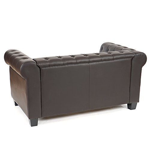 luxus 2er sofa loungesofa couch chesterfield kunstleder eckige f e braun. Black Bedroom Furniture Sets. Home Design Ideas