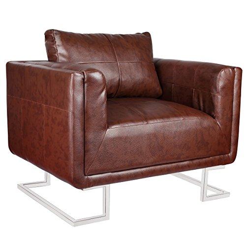 luxus ledermix cube chair brown mit chromf en sessel relaxsessel couch ledermixsessel. Black Bedroom Furniture Sets. Home Design Ideas