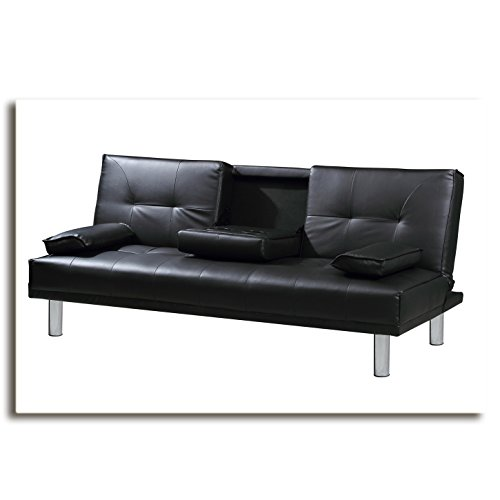 manhattan funktionssofa schwarz schlafsofa sofa kunstleder bettsofa lounge. Black Bedroom Furniture Sets. Home Design Ideas