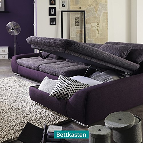 polsterecke wohnlandschaft sofa spike mit schlaffunktion und bettkasten ecksofa schlafsofa. Black Bedroom Furniture Sets. Home Design Ideas