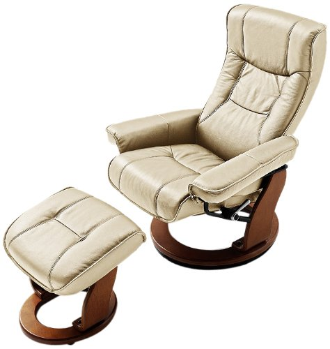 robas lund 64026ch5 relaxsessel hamilton mit hocker bezug leder creme gestell honigfarben. Black Bedroom Furniture Sets. Home Design Ideas