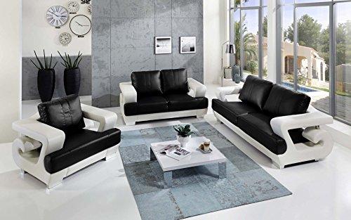 sam 3tlg sofa garnitur antonio couchgarnitur 3 sitzer 2 sitzer sessel in wei schwarz mit sam. Black Bedroom Furniture Sets. Home Design Ideas