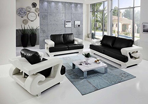sam 3tlg sofa garnitur antonio couchgarnitur 3 sitzer 2 sitzer sessel in wei schwarz mit sam. Black Bedroom Furniture Sets. Home Design Ideas