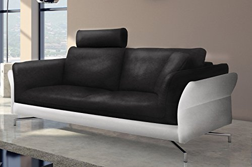 sam design sofa garnitur vivano 2 3 sitzer in schwarz wei stilvolle couchgarnitur. Black Bedroom Furniture Sets. Home Design Ideas