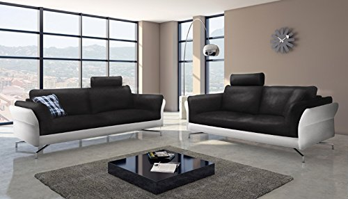 sam design sofa garnitur vivano 2 3 sitzer in schwarz wei stilvolle couchgarnitur. Black Bedroom Furniture Sets. Home Design Ideas