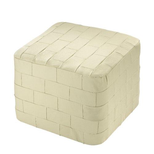 sitzkissen sitzw rfel pouf hocker bodenkissen leder patchwork beige creme. Black Bedroom Furniture Sets. Home Design Ideas