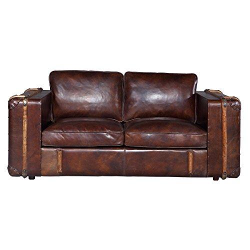 Sofa couch grena 2 sitzer zweisitzer leder echtleder antikbraun braun breite 166 cm tiefe 99 2 sitzer sofa leder