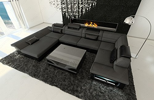stoff leder wohnlandschaft enzo u form grau. Black Bedroom Furniture Sets. Home Design Ideas