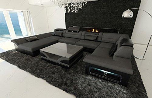 stoff leder wohnlandschaft enzo u form grau. Black Bedroom Furniture Sets. Home Design Ideas