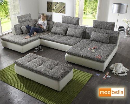 Wohnlandschaft Sofa Free Mit Schlaffunktion Und 4x Kopfsttzen