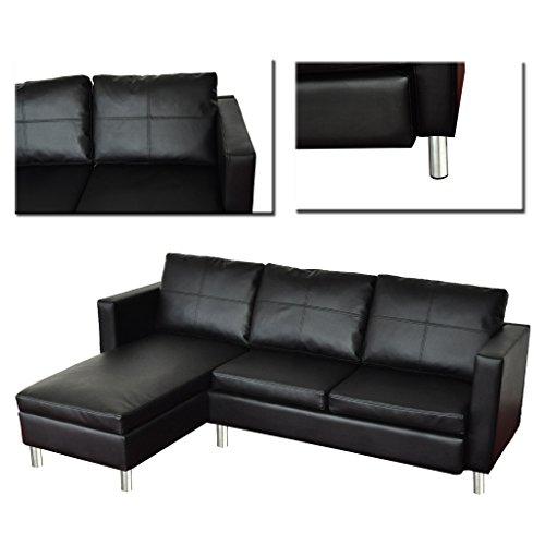 Wohndesign ecksofa lounge sofa ledermix relax liege wohnlandschaft schwarz - Zwarte bank lounge ...