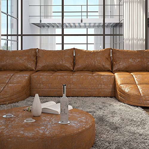 xxl big sofa gusti 4 sitzer echtleder mit kunstleder xxl wohnlandschaft kunstleder. Black Bedroom Furniture Sets. Home Design Ideas